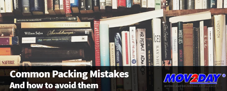 Image of Books with the Text: Common Packing Mistakes (and how to avoid them) | Mov2Day Blog